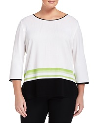 Misook Striped 3 4 Sleeve Tunic White Black Dragon
