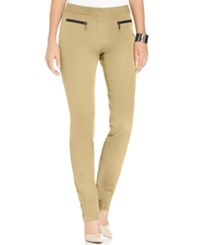 Alfani Faux Leather Trim Skinny Pants Only At Macy's