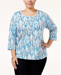 Karen Scott Plus Size Ikat Print Top Only At Macy's Intrepid Blue