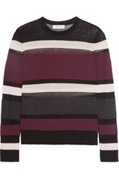 Bailey 44 Rachel Mesh Paneled Striped Wool Blend Sweater Burgundy