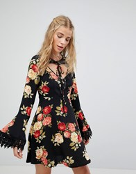 Kiss The Sky Tea Dress In Floral With Tie Neck Detail Black Multi
