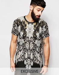 Reclaimed Vintage T Shirt In Gothic Print Black
