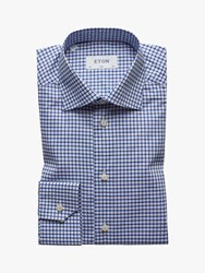 Eton Natural Stretch Twill Check Slim Fit Shirt White Blue