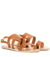 Ancient Greek Sandals Athanasia Leather Sandals Brown