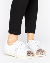 Adidas Originals White Superstar 80S Trainers With Rose Gold 3D Metal Toe Cap Ftwr White