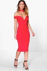 Boohoo Sweetheart Off The Shoulder Midi Dress Red