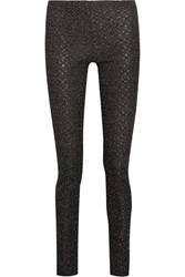 Missoni Metallic Crochet Knit Stretch Jersey Skinny Pants Black