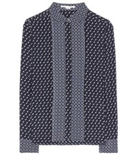 Stella Mccartney Printed Silk Shirt Blue
