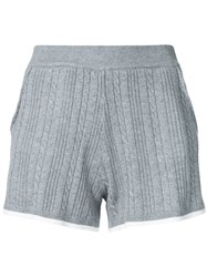 Guild Prime Cable Knit Shorts Women Cotton Nylon Rayon 36 Grey