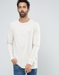 Asos Relaxed Longline Long Sleeve T Shirt With Logo In Cream Cream