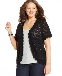Style And Co. Plus Size Short Sleeve Crochet Cardigan
