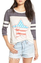 Billabong Women's Graphic Baseball Tee Grey Heather