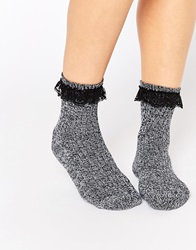 Asos Mix Knit Sock With Lace Trim Multi