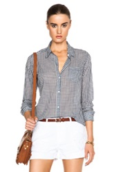 Nili Lotan Button Down Pocket Top In Blue Checkered And Plaid