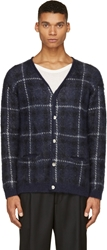 Sasquatchfabrix Navy Check Mohair Button Up Cardigan