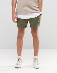 Asos Jersey Runner Shorts In Khaki Burnt Olive Green