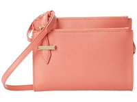 Lodis Stephanie Under Lock Key Trisha Double Zip Wallet On A String Coral Wallet Handbags