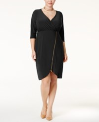 Love Squared Trendy Plus Size Zipper Detail Dress Black