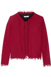 Iro Frayed Cotton Blend Boucle Jacket Claret