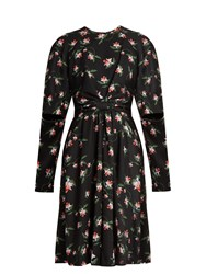 Preen Aaron Daffodil Print Gathered Crepe Dress Black Multi