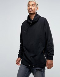 Asos Oversized Funnel Neck Sweatshirt With Drawstring Hem In Black Black