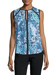 Elie Tahari Norma Floral Print Sleeveless Blouse Cloud