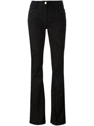 Etro Studded Paisley Texture Flared Trousers Black