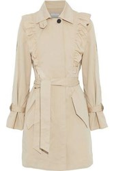 Joie Gila Ruffle Trimmed Cotton Blend Twill Trench Coat Beige