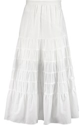 Maje Gathered Cotton Midi Skirt White