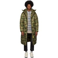 R 13 R13 Khaki Brumal Edition Camo Down Long Anorak Puffer Coat