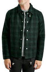 Men's Topman Plaid Wool Blend Coach Jacket
