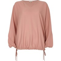 River Island Light Pink Textured Ruched Sleeve Top