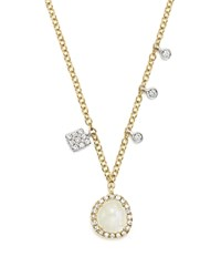 Meira T 14K White And Yellow Gold Rainbow Moonstone And Diamond Pendant Necklace 16 White Gold