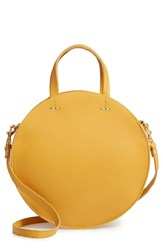 Clare V. Petit Alistair Leather Circular Crossbody Bag Yellow Marigold