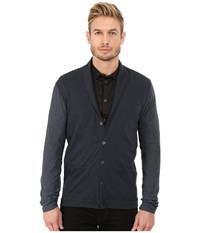 John Varvatos Long Sleeve Shawl Collar Knit Cardigan With Tonal Sleeves K2471r4b Dutch Blue Men's Sweater