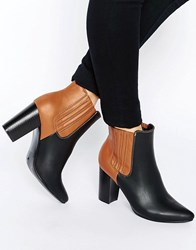 Glamorous Colour Block Heeled Ankle Boots Black Front Tan Back Multi