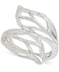 Touch Of Silver Leaf Inspired Right Hand Ring In Silver Plated Metal Siliver