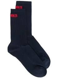 Alexander Mcqueen Ribbed Logo Socks Blue