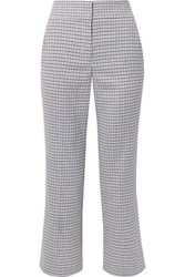 Veronica Beard Cormac Cropped Houndstooth Woven Flared Pants Blue