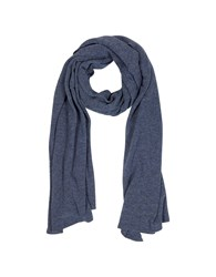 Mila Schon Long Scarves Solid Dark Blue Wool Blend Stole