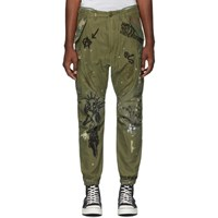 R 13 R13 Khaki Embroidered Surplus Cargo Pants