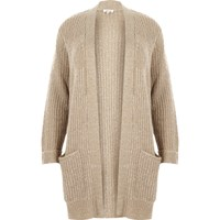 River Island Womens Plus Beige Knit Sequin Cardigan
