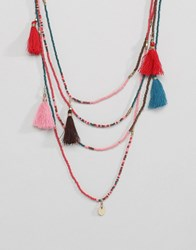 Pieces Layer Beaded Necklace With Tassles Op 12 Worn Gol Multi