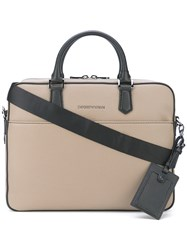 Emporio Armani Removable Shoulder Strap Briefcase Men Leather One Size Nude Neutrals