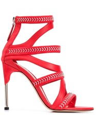 Alexander Mcqueen Embellished Strappy Sandals Red