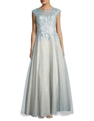 Basix Ii Cap Sleeved Embellished Bodice Gown Soft Blue