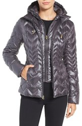Laundry By Shelli Segal Women's Lightweight Down Jacket With Inset Hooded Bib