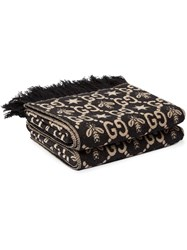 Gucci Kids Gg Pattern Throw Blanket Black