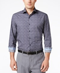 Tasso Elba Men's Print Long Sleeve Shirt Classic Fit Navy Combo