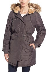 Women's Steve Madden Three Quarter Length Satin Parka With Faux Fur Trim